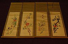 Lot of 4 Embroidered Scrolls - Flowers & Birds