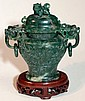 Chinese Highly Carved Green Jade Censer Burner