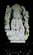Highly Carved Antique Jadeite Large Guanyin Statue