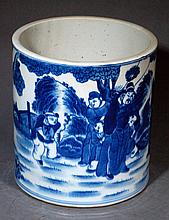Large Chinese Blue & White Brushpot