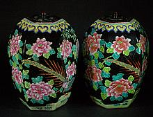 Pair of Old Chinese Lidded Jars