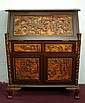 Chinese Highly Carved Wood Secretary Desk