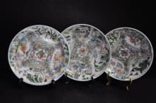 Three Chinese Famille Verte Dishes.