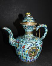 Chinese Qing Cloisone Wine Pot