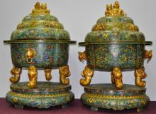 Pair of Palace Sized Cloisonne Incense Burners