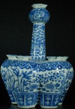Chinese Qing Dynasty Blue and White Crocus Pot