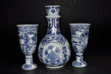 Blue & White Shipwreck Salvage Bottle and Goblets
