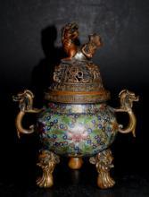Lidded Cloisonne Incense Burner