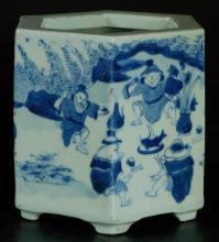 Chinese Blue & White Hexagon Brush Pot