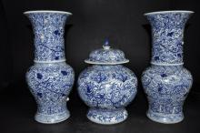 Three-Piece Blue & White Porcelain Garniture