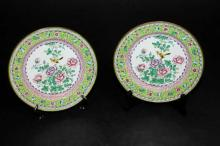 A Pair of Canton Enamel Plates