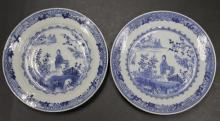 Pair of Chinese Qing Dynasty Blue & White Plates