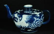 Chinese Blue and White Glazed Tea Pot
