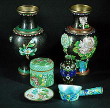 Lot of 6 Chinese Cloisonnes Items