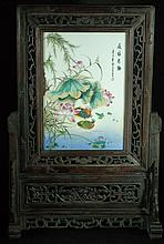 Old Chinese Table Screen with Famille Rose Placque