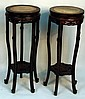 Pair of Chinese Wood Stands with Marble Tops