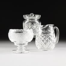 A COLLECTION OF THREE WATERFORD CUT GLASS VESSELS, SIGNED, 20TH CENTURY,