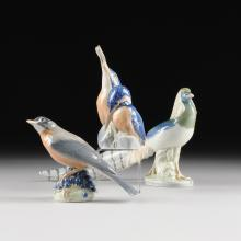 A COLLECTION OF THREE ROYAL COPENHAGEN POLYCHROME PAINTED PORCELAIN BIRD FIGURES, GREEN AND BLUE MAKER'S MARK, 20TH CENTURY,