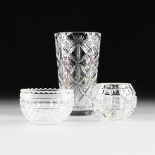 A GROUP OF THREE VARIOUS CUT AND MOLDED GLASS TABLE ARTICLES, MODERN,