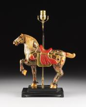 A CHINESE PARCEL GILT AND POLYCHROME PAINTED CARVED WOOD HORSE FIGURE LAMP, MODERN,