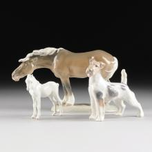 A COLLECTION OF THREE ROYAL COPENHAGEN POLYCHROME PAINTED PORCELAIN FIGURES OF ANIMALS, GREEN AND BLUE MAKER'S MARKS, 20TH CENTURY,
