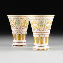 A PAIR OF BOHEMIAN YELLOW AND MILK GLASS OVERLAY VASES, CZECH REPUBLIC, 20TH CENTURY,