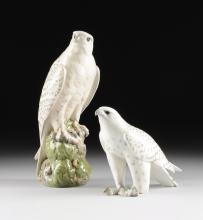A GROUP OF TWO ROYAL COPENHAGEN POLYCHROME PAINTED PORCELAIN FIGURES OF ICELANDIC FALCONS, GREEN AND BLUE MAKER'S MARKS, 20TH CENTURY,