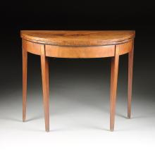 A GEORGE III MAHOGANY, SATINWOOD, AND MARQUETRY CROSSBANDED DEMILUNE GAMES OR CARD TABLE, CIRCA LAST QUARTER 18TH CENTURY,