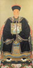 A CHINESE POLYCHROME PAINTED ANCESTOR PORTRAIT, QING DYNASTY (1668-1912),