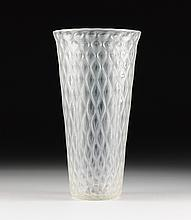 A LARGE VINTAGE QUILTED GLASS VASE, POSSIBLY ITALIAN, THIRD QUARTER 20TH CENTURY,
