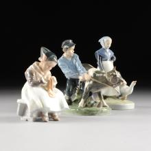 A COLLECTION OF THREE ROYAL COPENHAGEN POLYCHROME PAINTED PORCELAIN FIGURES, GREEN AND BLUE MAKER'S MARK, 20TH CENTURY,