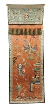 A VINTAGE CHINESE POLYCHROME SILK NEEDLEWORK CELEBRATION BANNER, PROBABLY REPUBLIC PERIOD (1912-1949),