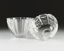 A GROUP OF TWO ORREFORS CRYSTAL BOWLS, SWEDEN, LATE 20TH CENTURY,