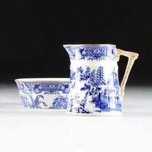 A WORCESTER ROYAL PORCELAIN CO. BLUE AND WHITE TRANSFER PRINT CREAMER AND UNDER BOWL,