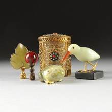 A MISCELLANEOUS GROUP OF FIVE CHINESE OBJECTS, 20TH CENTURY,