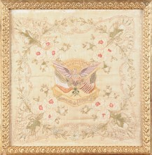 A WWI EMBROIDERED SILK COMMEMORATING THE ALLIED NATIONS OF FRANCE AND THE UNITED STATES OF AMERICA, EARLY 20TH CENTURY,