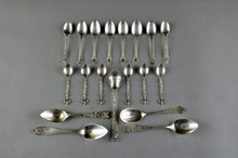 A GROUP OF NINETEEN MISCELLANEOUS SILVER DEMITASSE SPOONS, 19TH AND 20TH CENTURY,