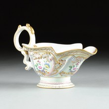 A LARGE CONTINENTAL PARCEL GILT AND POLYCHROME DECORATED PORCELAIN CENTERPIECE, 20TH CENTURY,