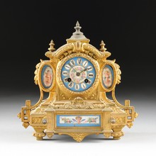 A LOUIS XVI REVIVAL PORCELAIN MOUNTED GILT METAL MANTLE CLOCK, RETAILED BY PH MOUREY, MECHANISM BY SAMUEL MARTI ET CIE, THIRD QUARTER 19TH CENTURY,