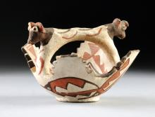 A NATIVE AMERICAN ZUNI POLYCHROME PAINTED POTTERY CEREMONIAL BOWL, CIRCA 1880-1885,
