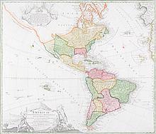 TOTIUS AMERICAE SEPTENTRIONALIS ET MERIDIONALIS MAP BY J. B. HOMANN, CIRCA 1737,