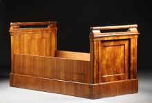 A PAIR OF BIEDERMEIER FIGURED WALNUT TWIN BEDS, CIRCA 1825,