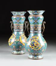 A PAIR OF LARGE VINTAGE CHINESE POLYCHROME DRAGON AND PHOENIX CLOISONNÉ VASES, REPUBLIC PERIOD (1912-1949),