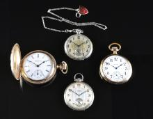 A COLLECTION OF FOUR GENTS' POCKET WATCHES ,