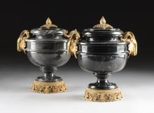 TWO COVERED MARBLE URNS WITH GILT BRONZE RAMS HEAD MOUNTS, 20TH CENTURY,
