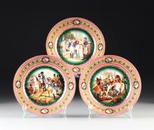 THREE BOHEMIAN PARCEL GILT PLATES COMMEMORATING NAPOLEON BONAPARTE, 20TH CENTURY,