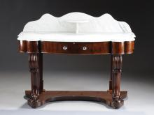 AN AMERICAN CLASSICAL PERIOD MAHOGANY AND WHITE MARBLE DRESSING TABLE, CIRCA 1840,
