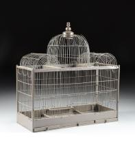 A VICTORIAN ARCHITECTURAL BROWN PAINTED WIRE AND WOOD BIRDCAGE, LATE 19TH/EARLY 20TH CENTURY,