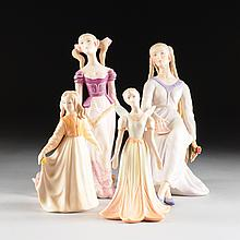 SIR LASZLO ISPANKY (HUNGARIAN/AMERICAN 1919-2010) A GROUP OF FOUR VARIOUS PORCELAIN FIGURES OF YOUNG GIRLS, TWO SIGNED BY ARTIST, INCISED AND PRINTED MARKS WITH NUMBERS, LATE 20TH CENTURY,
