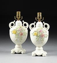 PAIR OF IRISH FLORAL ENCRUSTED TWO HANDLED VASES,